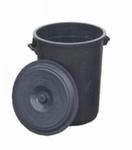 Ton 100 liter met deksel zwart
